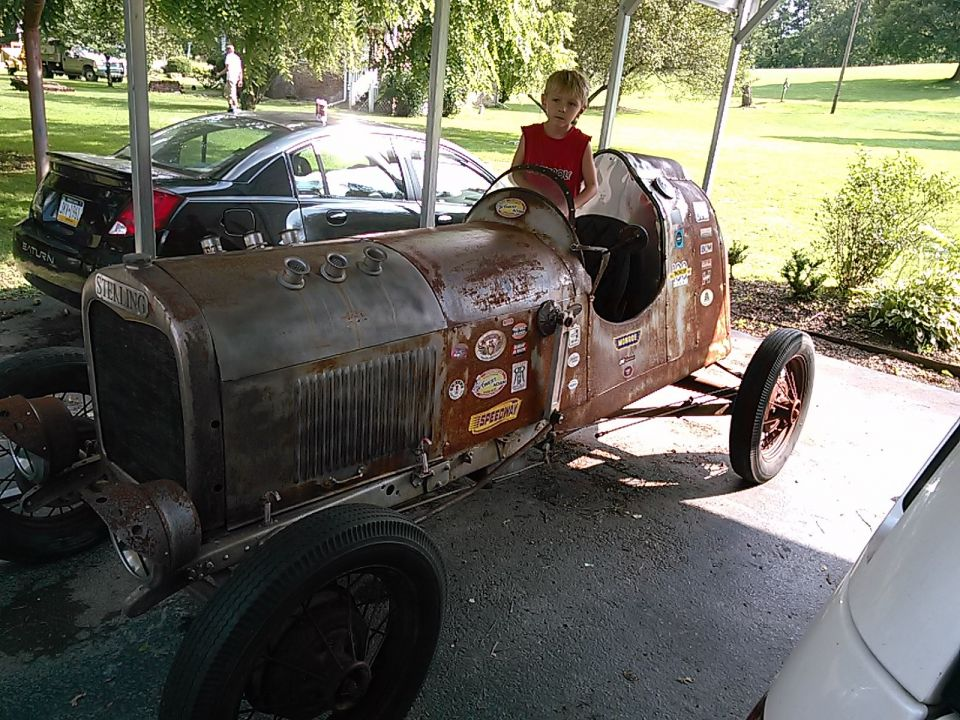 Nobody flying, so I bought a new toy for Tyler. He likes the 1922 Sterling race car! Just got it yesterday and drove it around a little. It wasn't built for comfort and the brakes are mechanical S type, so you can't go to fast! lol