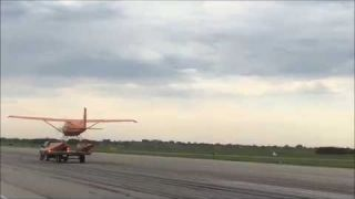 Float Plane Takeoff from Concrete Runway